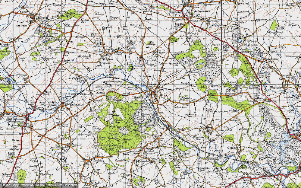 Old Map of Historic Map covering Lee's Rest in 1946