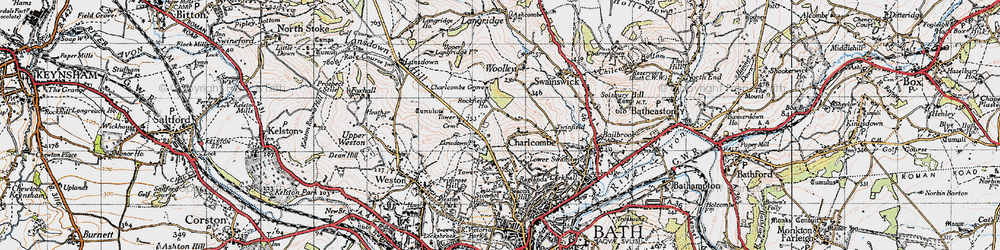 Old map of Charlcombe in 1946