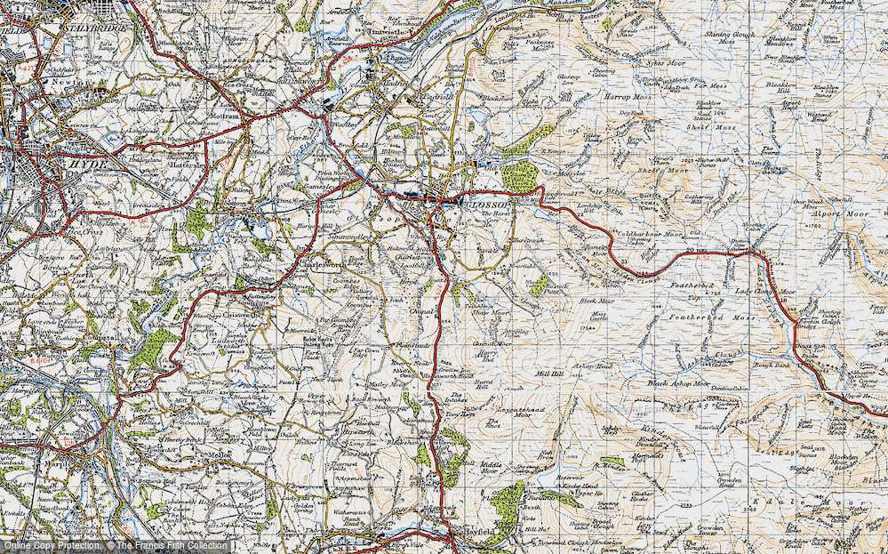 Old Map of Historic Map covering Whiteley Nab in 1947