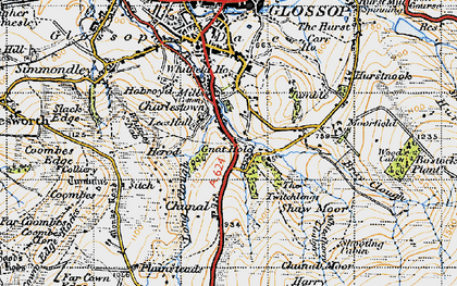 Old map of Whiteley Nab in 1947
