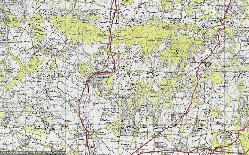 Old Map of Historic Map covering Levin Down in 1945