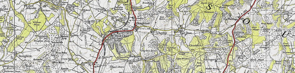 Old map of Charlton in 1945