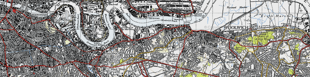Old map of Woolwich Common in 1946