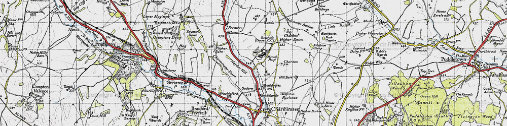 Old map of Wolfeton Clump in 1945