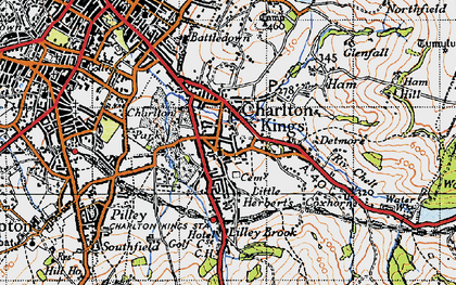 Old map of Charlton Kings in 1946