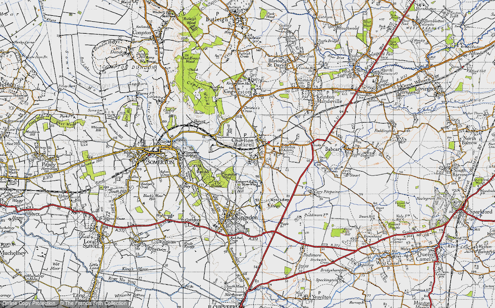 Old Map of Charlton Mackrell, 1945 in 1945