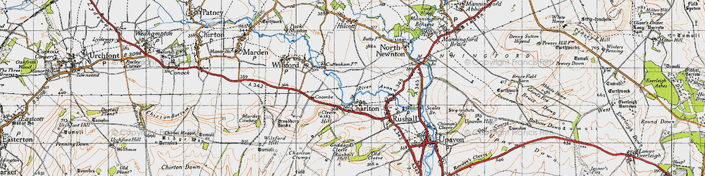 Old map of Wilsford Hill in 1940