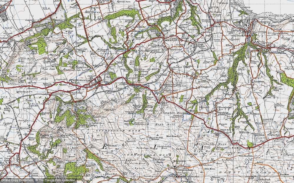Old Map of Historic Map covering Westworth Wood in 1947