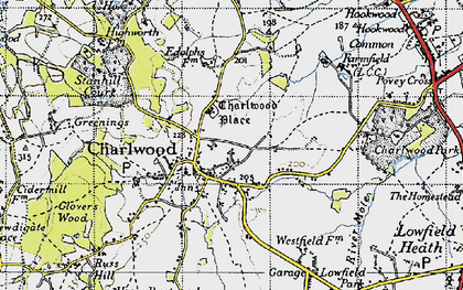 Old map of Charlwood in 1940
