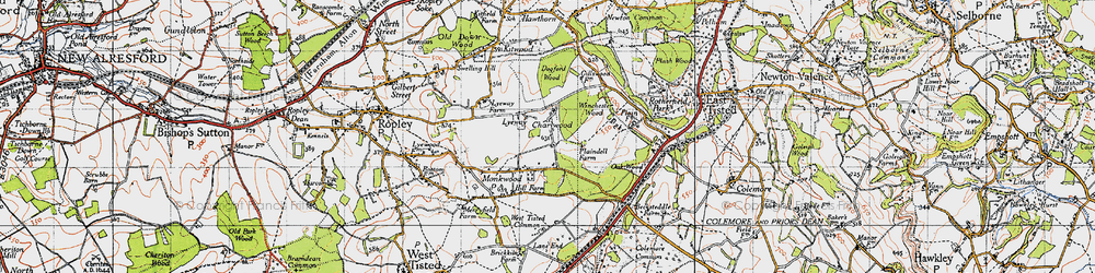 Old map of Winchester Wood in 1945