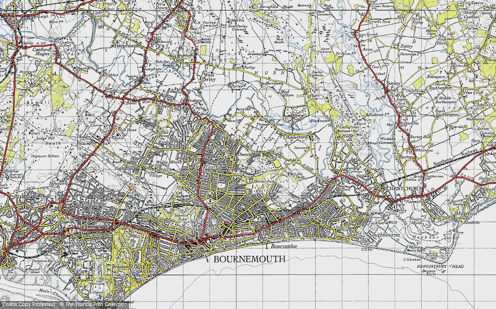 Old Map of Historic Map covering Bournemouth in 1940