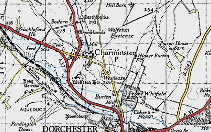 Old map of Wolfeton Ho in 1945