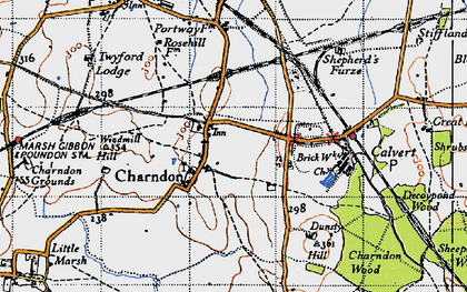 Old map of Charndon in 1946