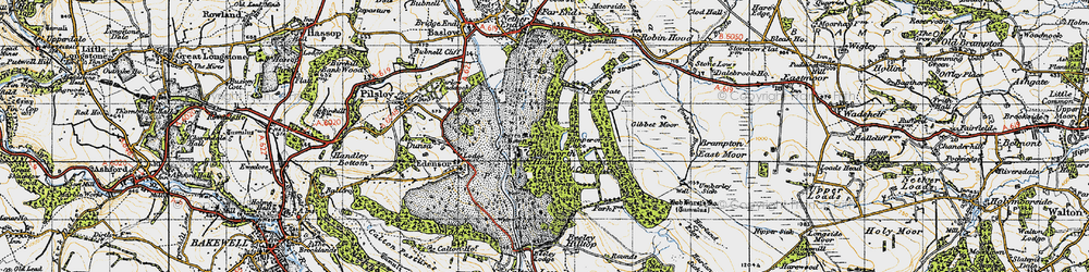 Old map of Chatsworth House in 1947