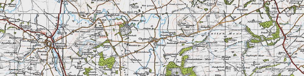 Old map of Chatton in 1947