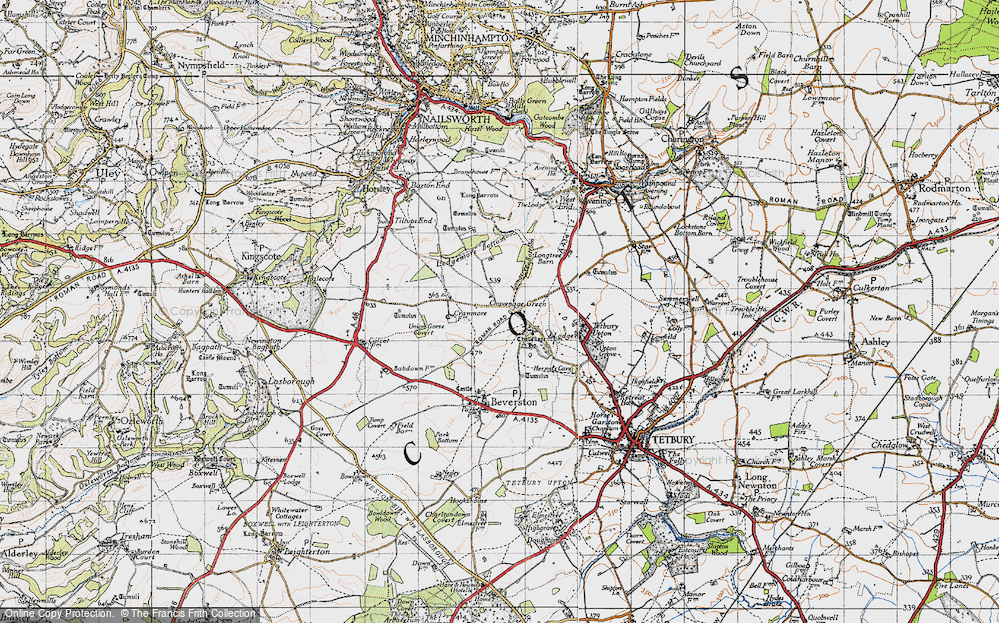 Old Map of Historic Map covering Ledgemore Bottom in 1946