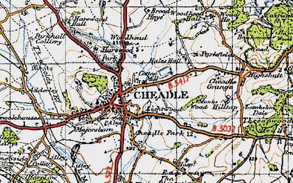 Old map of Cheadle in 1946