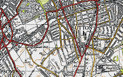 Old map of Cheam in 1945