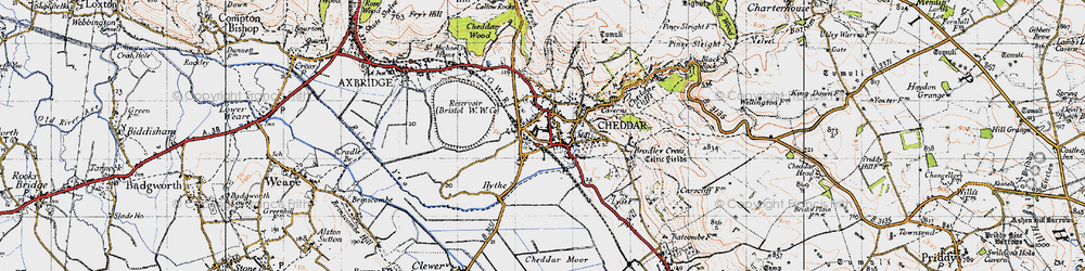 Old map of Cheddar in 1946