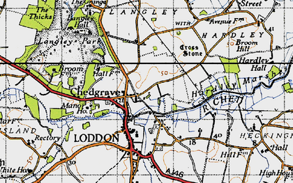 Old map of Chedgrave in 1946