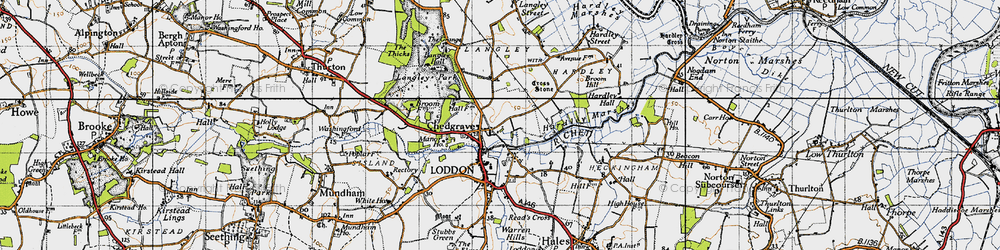 Old map of Langley School in 1946