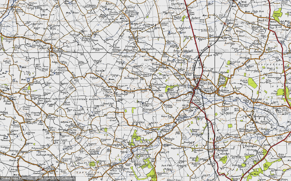 Old Map of Historic Map covering Linstead Parva in 1946