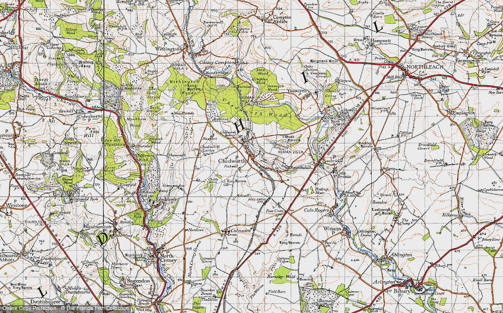 Old Map of Chedworth, 1946 in 1946