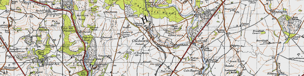 Old map of Chedworth in 1946