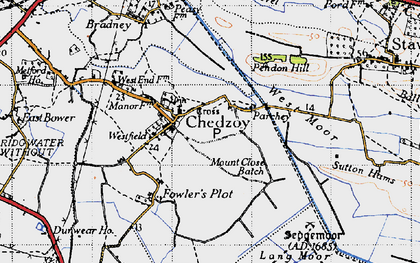 Old map of Chedzoy in 1946