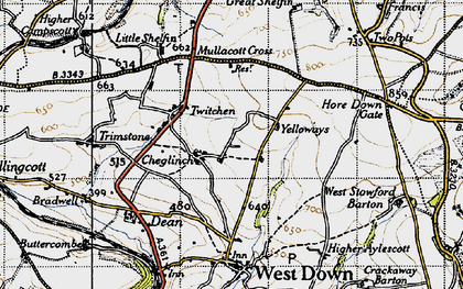 Old map of Yellow Rayes in 1946