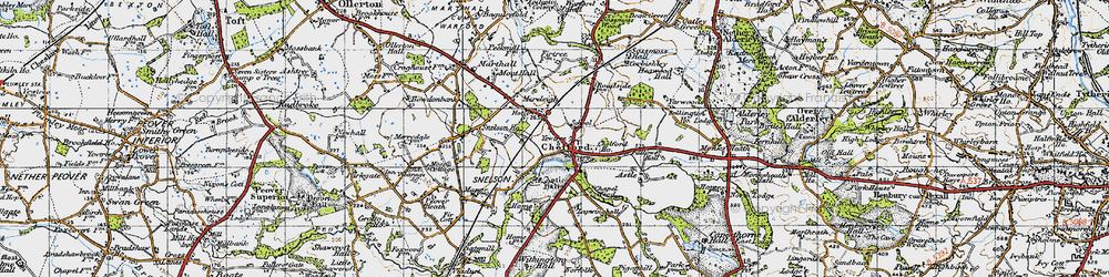 Old map of Chelford in 1947