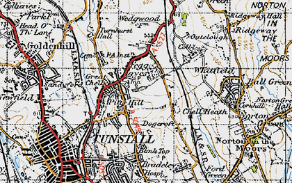 Old map of Whitfield in 1946