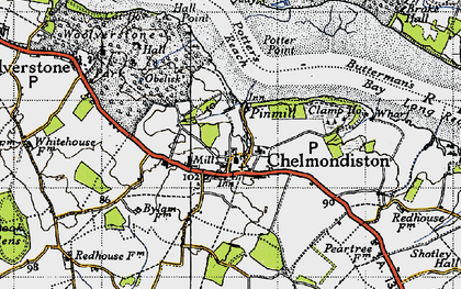 Old map of Pin Mill in 1946