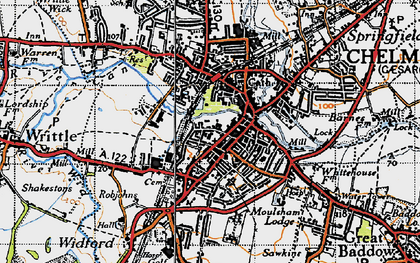 Old map of Chelmsford in 1945