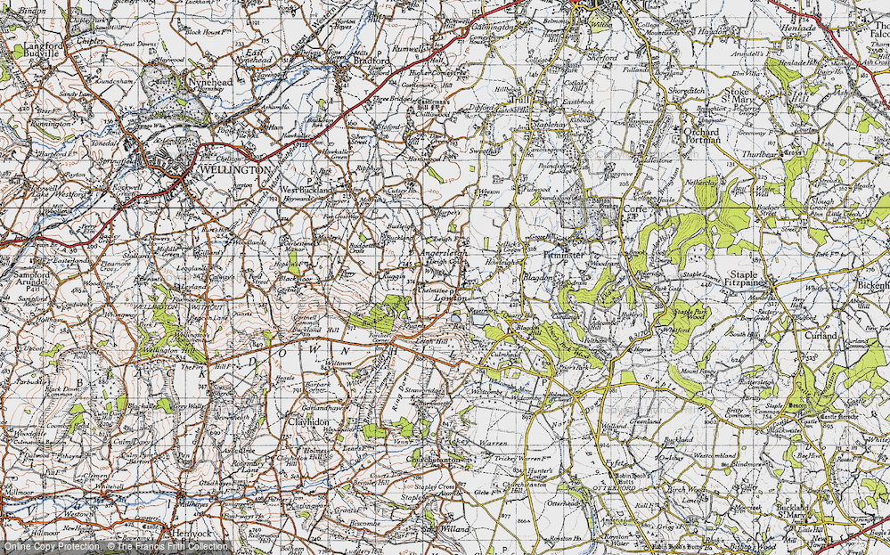 Old Map of Historic Map covering Leigh Hill in 1946