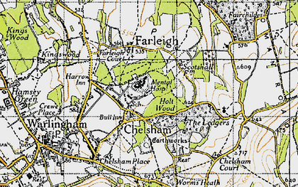 Old map of Chelsham in 1946