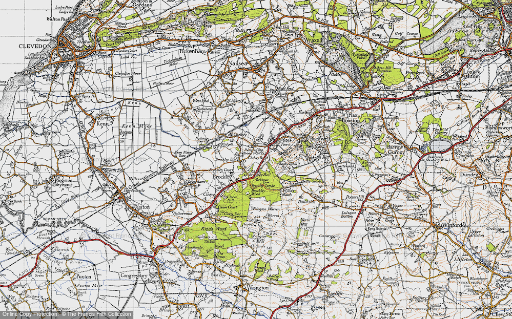 Old Map of Historic Map covering Backwell Hill Ho in 1946