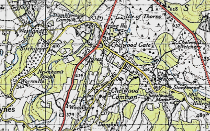Old map of Chelwood Gate in 1940