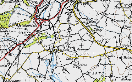 Old map of Chenhalls in 1946