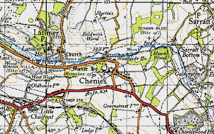 Old map of Chenies in 1946