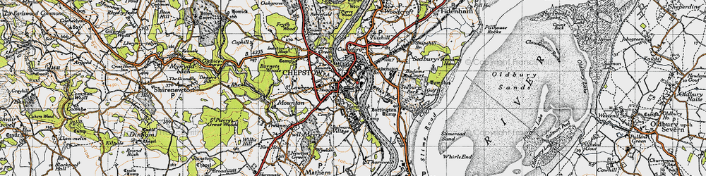 Old map of Chepstow in 1946