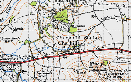 Old map of Cherhill in 1940