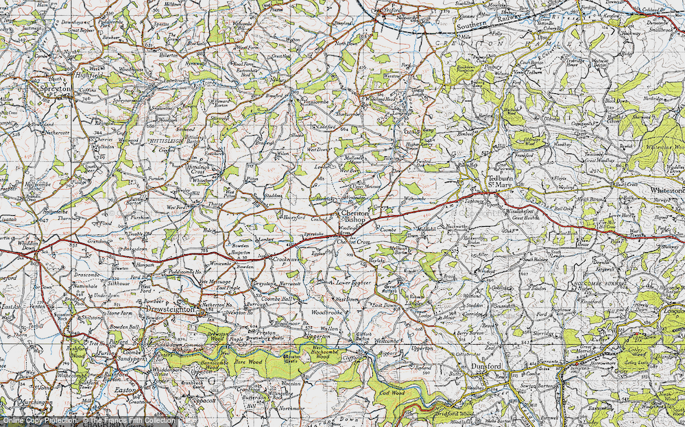 Old Map of Historic Map covering Woodleigh in 1946