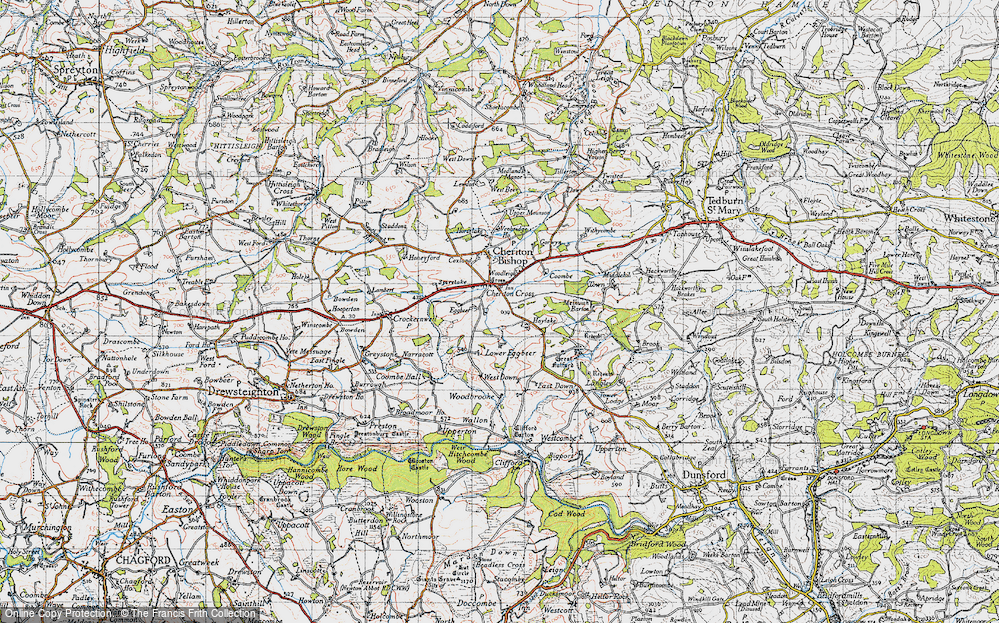 Old Map of Historic Map covering Woodbrooke in 1946