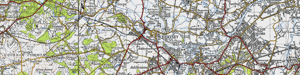 Old map of Chertsey in 1940