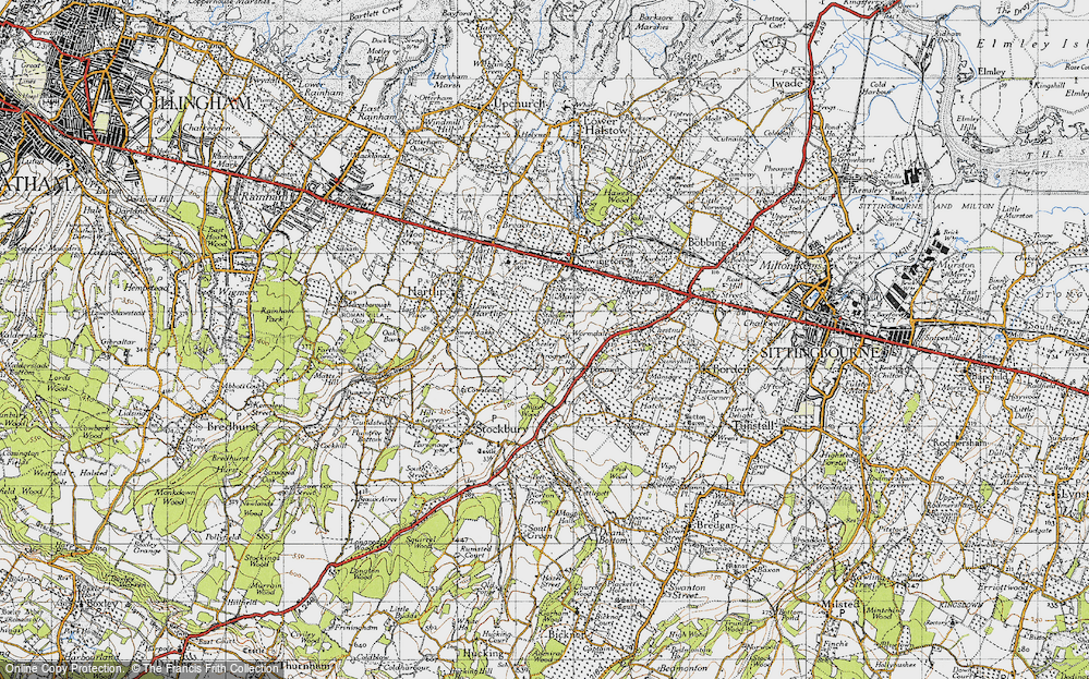 Old Map of Historic Map covering Wormdale in 1946