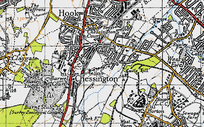 Old map of Chessington in 1945