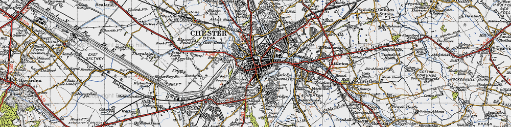 Old map of Chester in 1947
