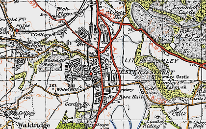 Old map of Lumley Castle in 1947