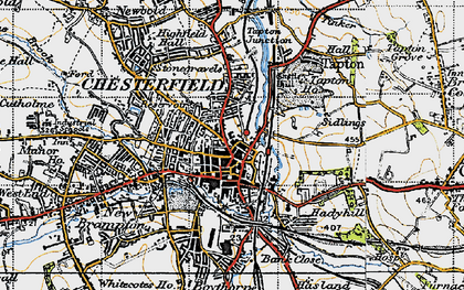 Old map of Chesterfield in 1947